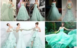Мятное свадебное платье — модные фасоны 2018