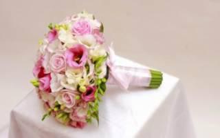 Свадебный букет из лизиантуса, георгин, фуксии, гламелии