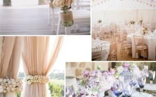 Нежное оформление свадебного зала в пастельных тонах