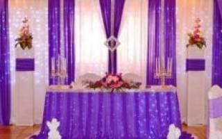 Как оформить свадебный зал в сиреневом цвете: декор и аксессуары