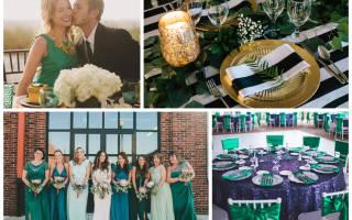 Изумрудная свадьба — оформление, платье, букет
