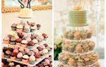 Порционный свадебный торт с капкейками, кексами, маффинами, пирожными с мастикой, ягодами