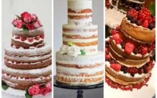 Голый свадебный торт с открытыми коржами: идеи оформления