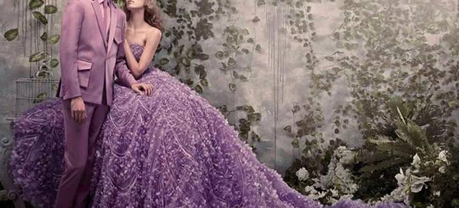 Сиреневое свадебное платье — популярные модели