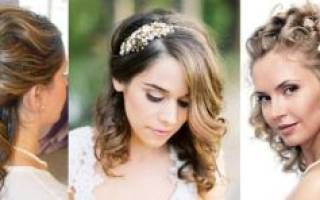 Свадебные прически с локонами на волосы средней длины и короткие