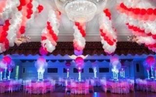 Украшение из шаров на свадьбу- оформление своими руками
