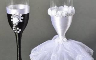 Свадебные бокалы жених и невеста — пошаговые мастер-классы
