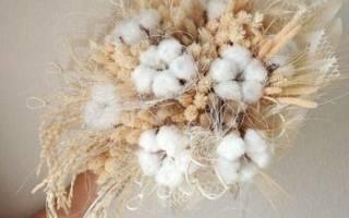 Свадебный букет с хлопком, эвкалиптом, из сухоцветов, с шишками