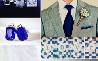 Свадебный букет бело-синий, желто-синий, красно-синий, синий