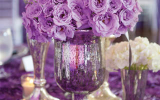 Лиловая свадьба — оформление зала, образ молодых, фотосессия