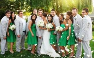 Зеленая свадьба — оформление зала, платье, букет, приглашения
