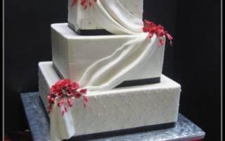 Свадебный торт: декор квадратного и прямоугольного