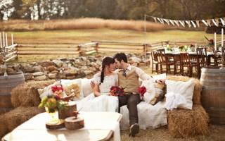 Деревенская свадьба — оформление, образы молодых, фотосессии