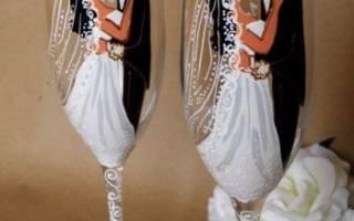 Декупаж свадебных бокалов своими руками — мастер-классы