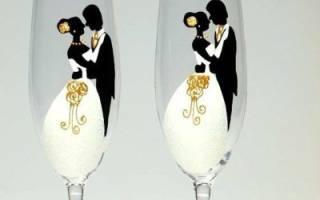Роспись свадебных бокалов своими руками — пошаговая инструкция