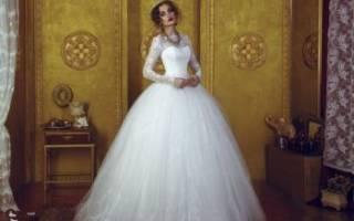 Свадебное платье с рукавами длинными, три четверти, фонарик