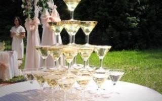 Шампанское на свадьбу — пирамида, горка из бокалов, фонтан