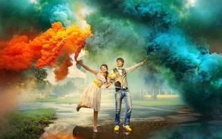 Свадебные фото с цветным дымом — креативные идеи