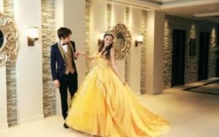 Желтое свадебное платье — модные фасоны 2018