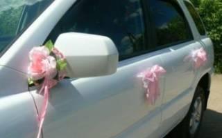 Украшение на ручки, зеркала машины на свадьбу своими руками